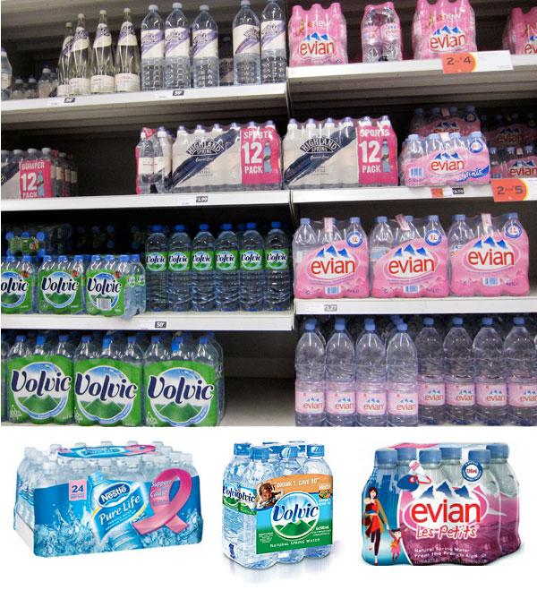 Water section on a supermarket