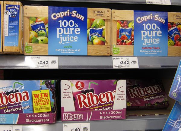 Juice multipack of cartons on shelf