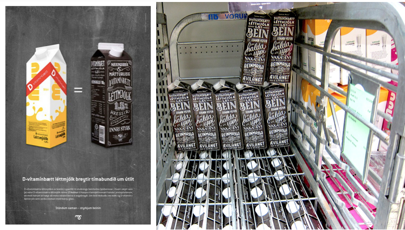 Mjólkursamsalan Dairy Co-operative special black packaging