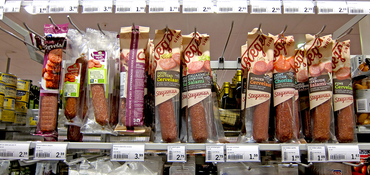 Stegeman Sausages Packagingon Albert Heijn Supermarket