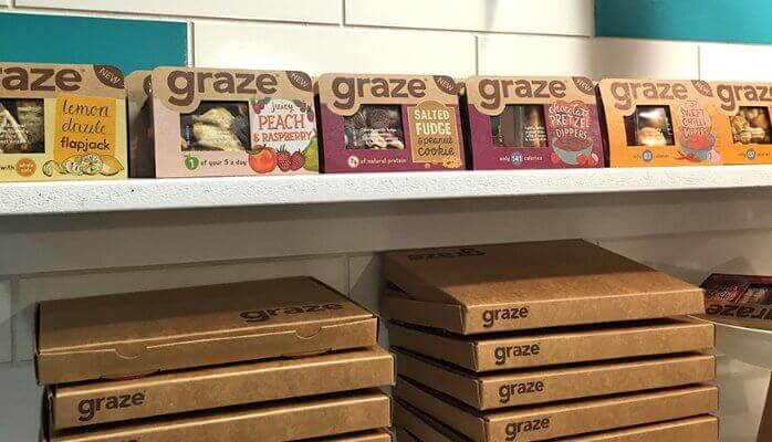 Graze packaging as an example of UK food trends