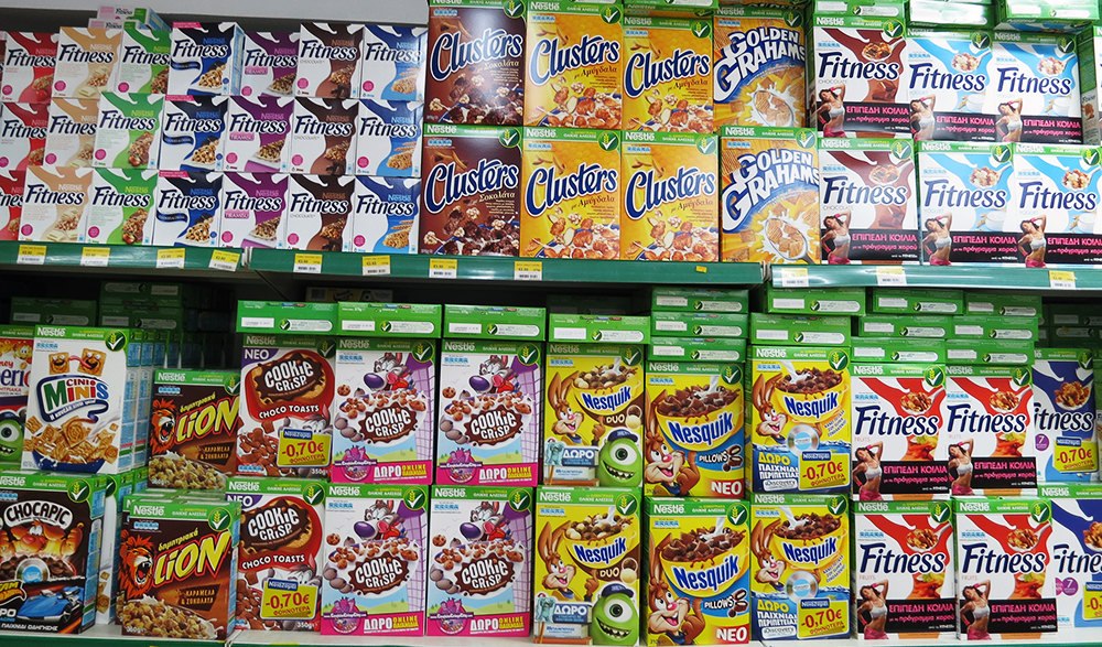 Several Cereals Packages on Shelf