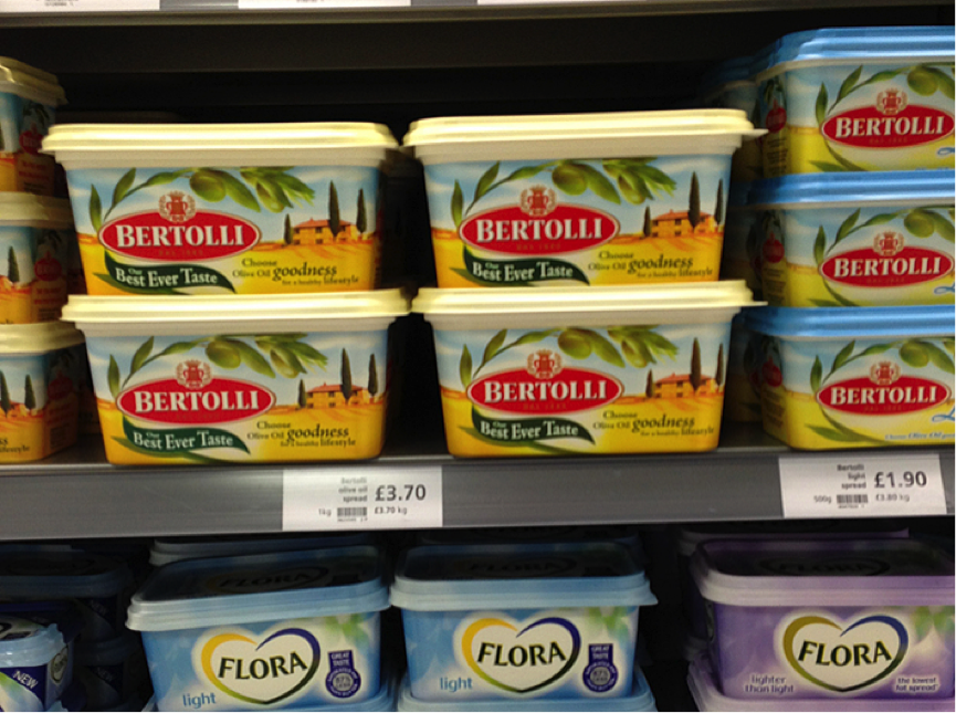 Bertolli Margarine Packages on shelf