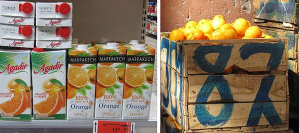 Orange juice carton packages and an orange crate in Marrakech