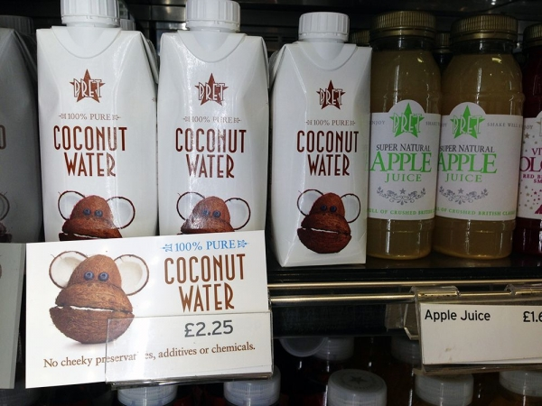 Pret Coconut Water on Shelf