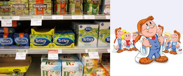 Tetley Tea Folk on the Tea section of a supermarket