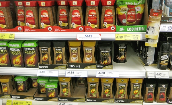 Several Instant Coffee Blends on a Supermarket Shelf