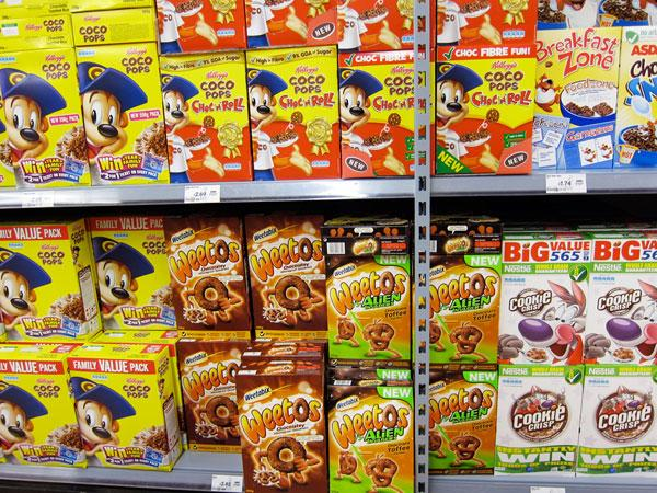 Chocolate cereals section