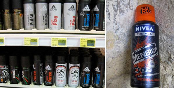 Men deodorant section and Nivea Menergy deodorant in detail