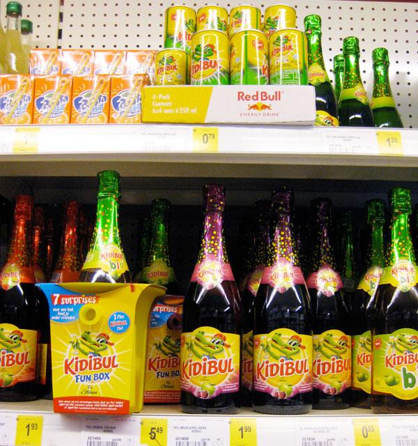 Kidibul apple juice drink on a supermarket shelf