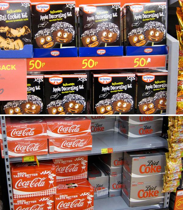 Dr. Oetker and Coca Cola seasonal packages on shelf