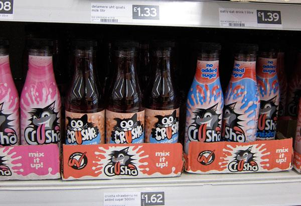 Crusha Milkshake Mix Bottles on Shelf