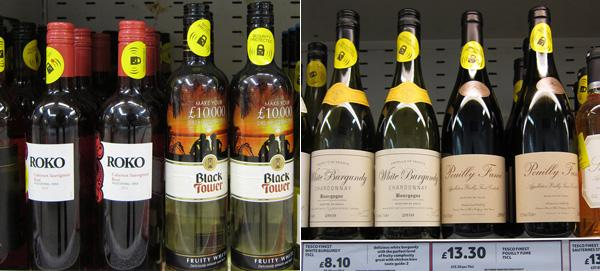 Brand wines vs Tesco wines in the wine section