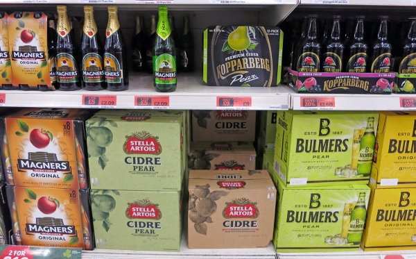 Several Cider Brands on a Supermarket Shelf