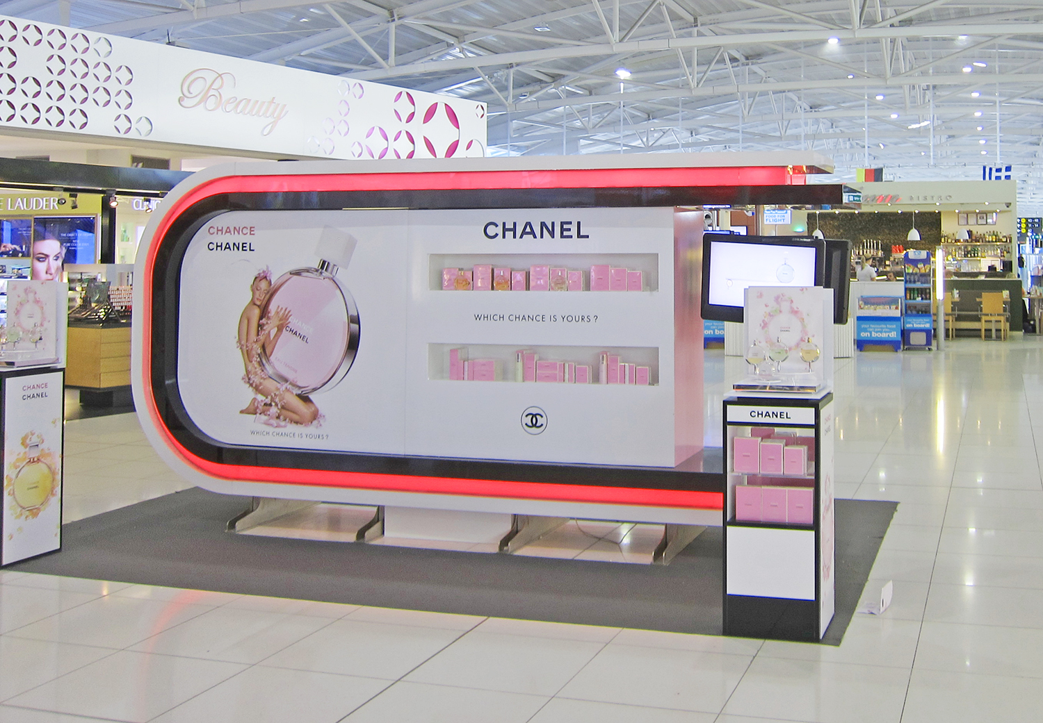 Chanel Chance Fragance Display at an airport