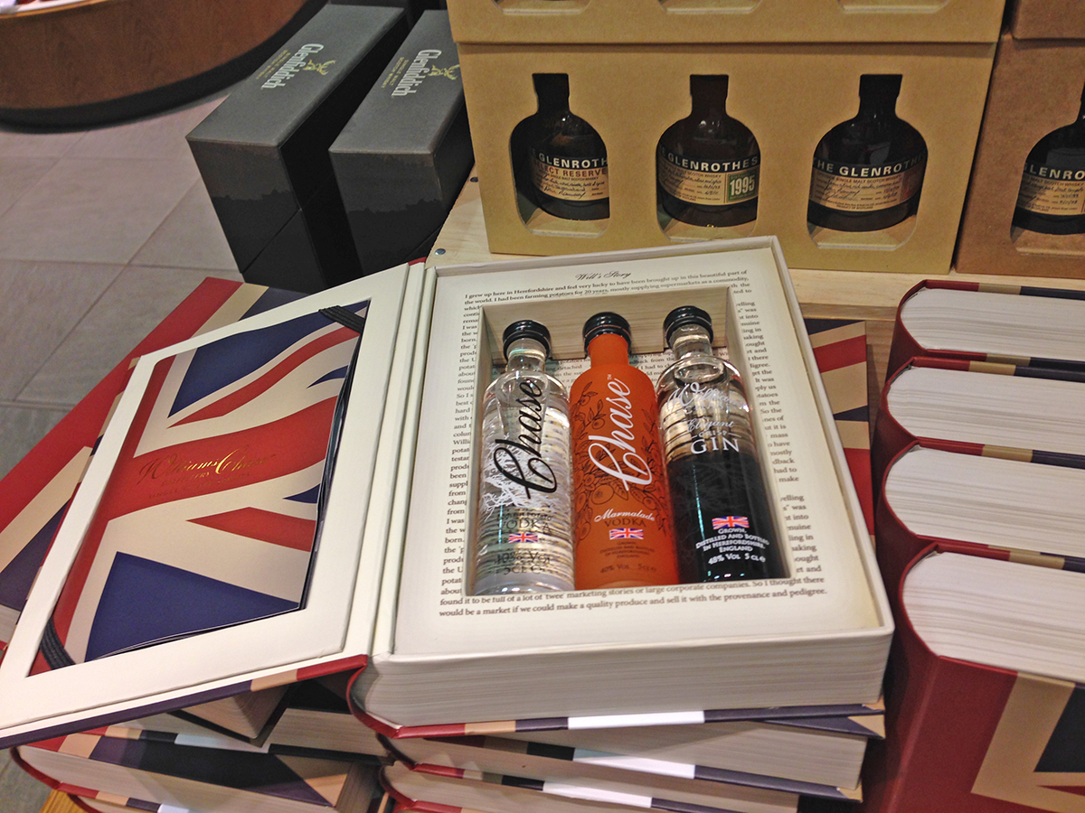 Three Chase bottles in a Special gift box, which is a book with the Union Jack Flag
