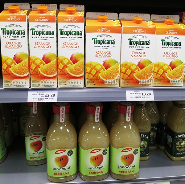 Tropicana and Innocent Fruit Juice Bottles