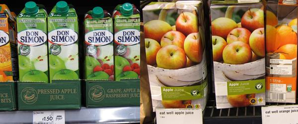 Don Simon juices compared with another juice brand