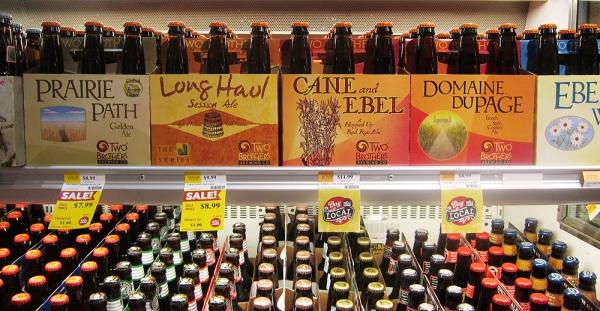 Beer Packs on a Supermarket Shelf
