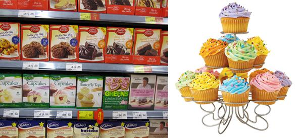 cupcakes mixes section on shelf and cupcakes display stand
