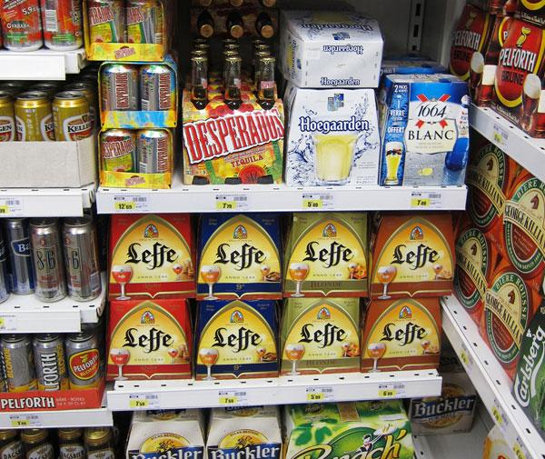 Leffe beer on a Belgian supermarket beer section
