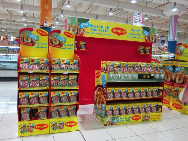 Maggi display on supermarket in Saudi Arabia