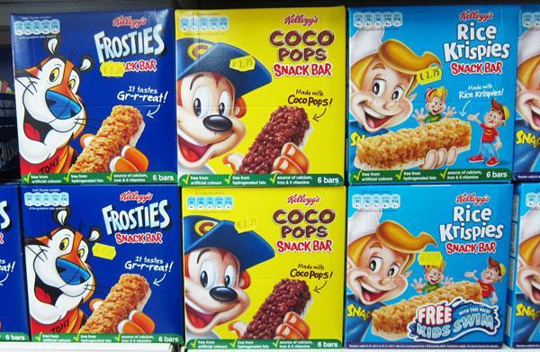 Cereal bars for kids on shelf