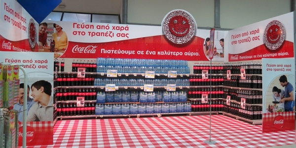 Coca Cola Advertising Corner in a Greek Supermarket