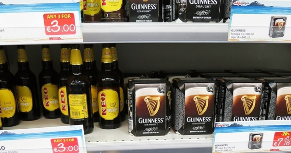 Beer on a Greek Supermarket Shelf