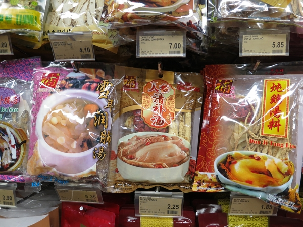 Cantonese Soup Packs on Shelf in Asia