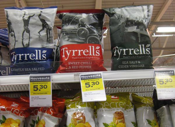 Tyrrells English Crisps in a French supermarket
