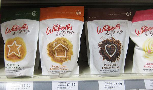 Whitworths range of sugar packages on shelf