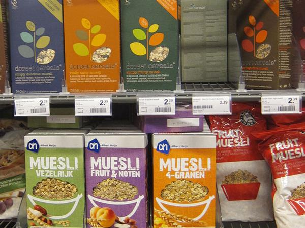 Muesli section in a Dutch Albert Heijn supermarket