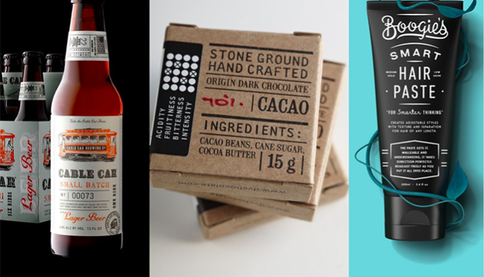 Craft design packaging in different type of products such as beer, cacao or hair paste