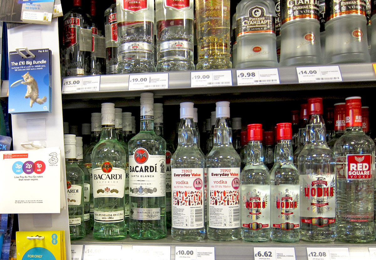 Bacardi Old and New Packaging on Shelf