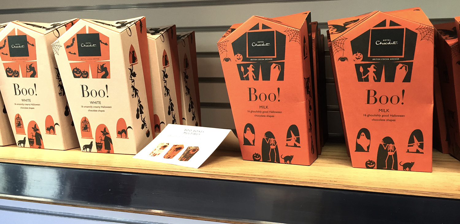 Hotel Chocolat Halloween packaging, boxes with haunted house shape