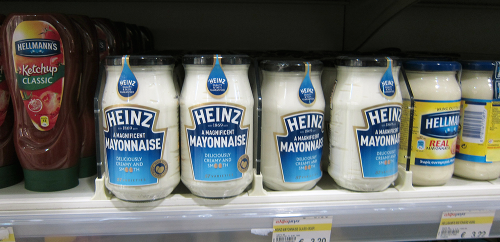 Heinz mayonnaise glass jars on shelf
