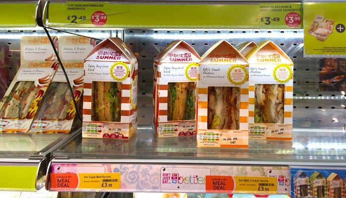 Beach huts inspired Urban Eat Sandwich packaging on shelf