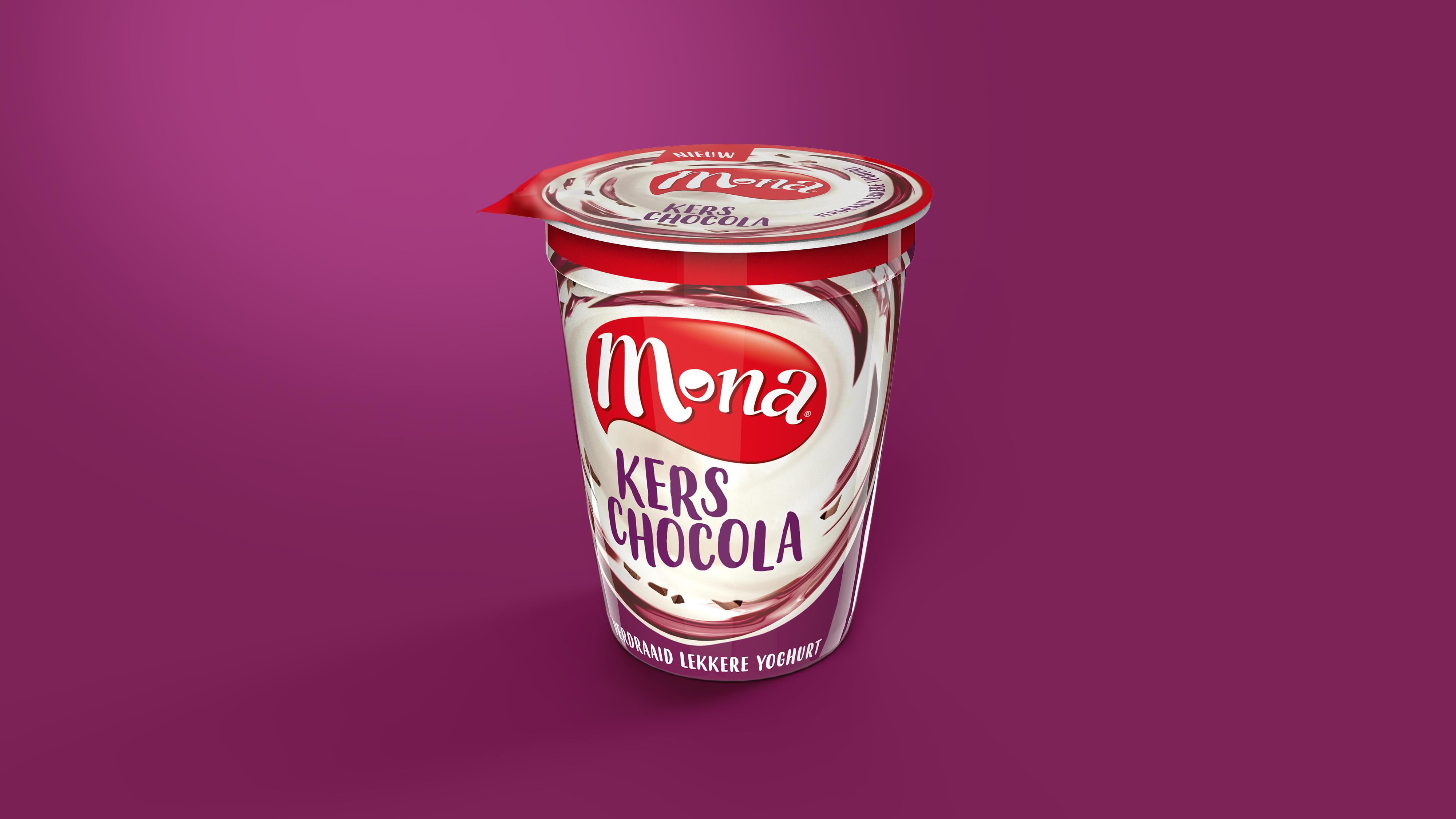 Mona yoghurt dessert packaging design