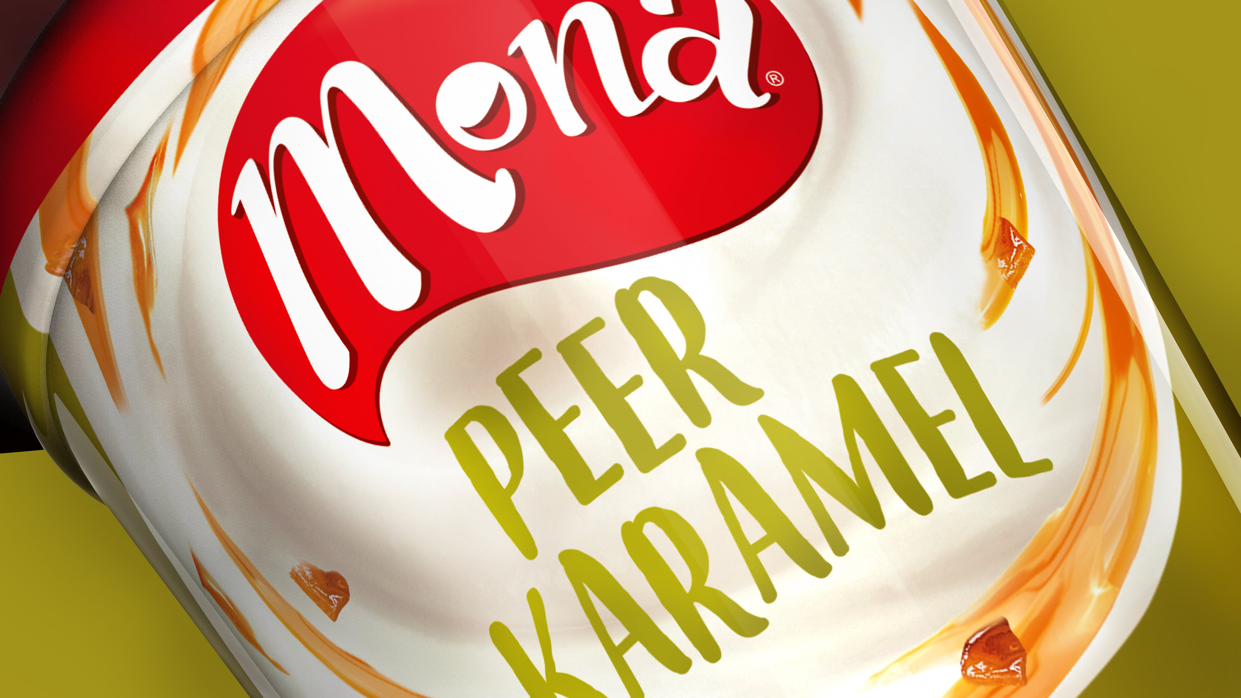 Mona yoghurt dessert packaging design close up